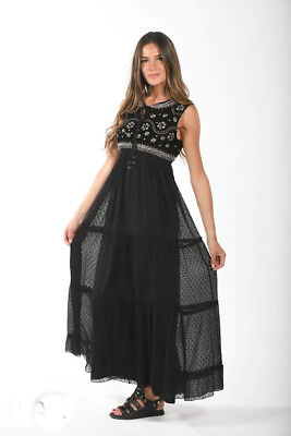 NJ Couture Paris Gothik BeInn Maxi Kleid Elisa Black Chiffon Samt Steine  M 38