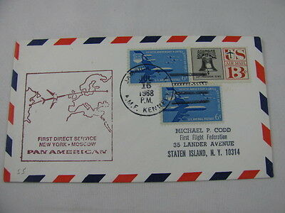 FFC First Flight Cover USA Russia PAN American Bell Plane Jamaica Moscow 1968