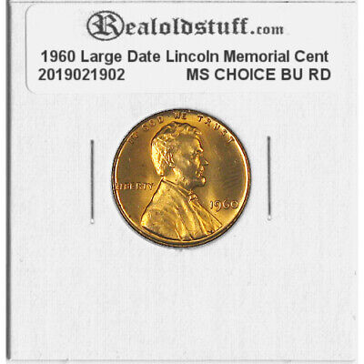 1960 Large Date Lincoln Memorial Cent Penny - MS GEM CHOICE BU UNC RED RD COPPER