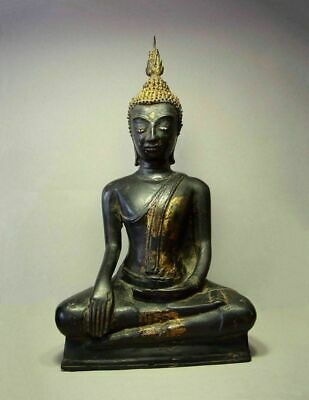 "ANTIQUE BRONZE MEDITATING UTHONG BUDDHA, 17/18th C. RARE LATE STYLE ""C"""