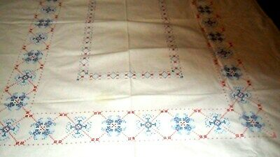 "HAND CROSS-STITCH EMBROIDERED blue  FLORAL ART DECO TABLECLOTH - 48""X 60"""