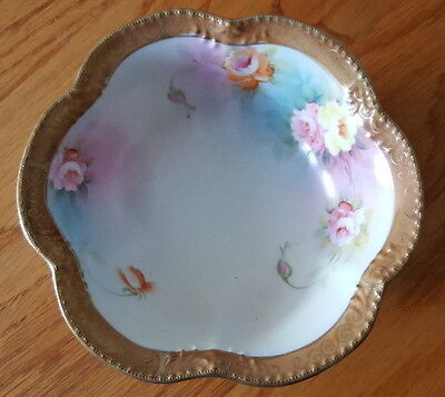 "Nippon Porcelain Bowl, Tri-Footed, Hand Painted 6"" w/Gold Accents"