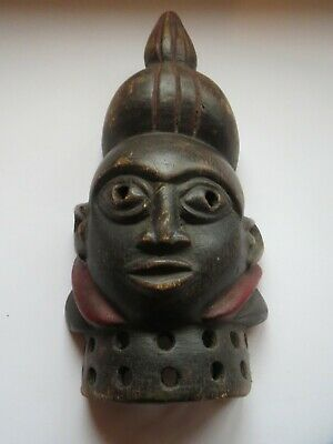 Attractive Vintage Wooden Carved Balinese Tribal Head With Pierced Collar