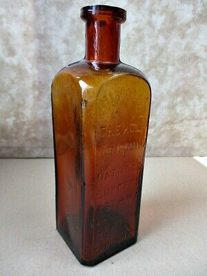 """Antique Bottle, HIMALYA, Kola Compound, ASTHMA CURE, Brown,7 1/8"""" Tall"""