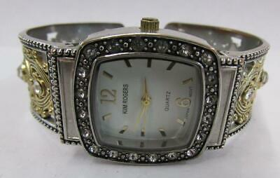 Kim Rogers Two Tone Gold/Silver Colored Bangle Wrist Watch Crystal Bezel Ob