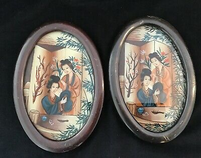 Pair Japanese Reverse Painted On Glass Pictures