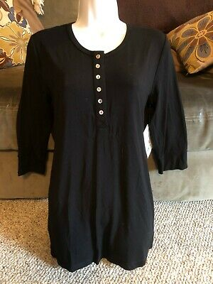 b2ddaacb976 New Tags Rosie Pope Maternity Collection Henley Black Medium Shirt Top NWT  Women