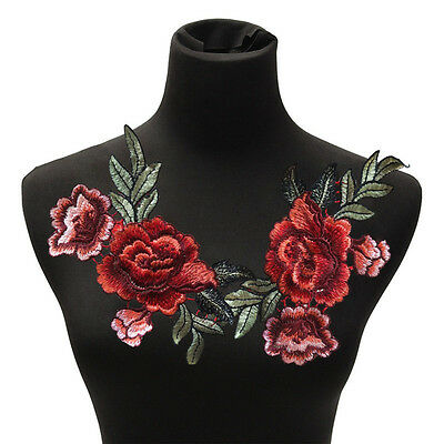 2Pcs / Set Rose Flower Patches Flowers Embroidered Applique Patches Sew Jn