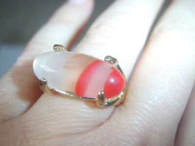 Vintage Look Electro Plated Cloudy & Red Elongated Oval Dress Ring Size 16 or P