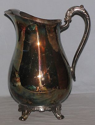 "F B Rogers Footed 9"" Pitcher With Ice Lip Silver Plated Natural Patina"