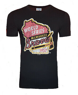 SMALL Mens Majestic MILWAUKEE BRAVES MLB Cooperstown T Shirt Baseball Jersey