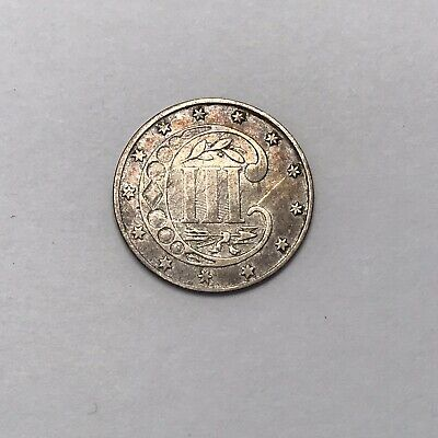 1861 Three Cent Piece Silver U.S. 3C Antique Currency Coin