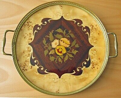 Vintage, Hand Inlaid Rosewood and Brass Tray, Signed by Augusto of Sorrento