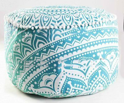 Hippie Ottoman Cover Foot Stool  Tapestry  Bohemian Throw Round Cover 22'' Decor