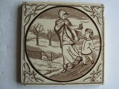 "Antique Victorian Malkin Edge Seasons ""Winter"" Transfer Print Tile C1880"
