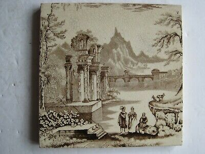 Antique Victorian Transfer Print Pictoral Tile - Italianate Design - Woodsworth
