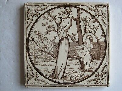 "Antique Victorian Malkin Edge Seasons ""Autumn"" Transfer Print Tile C1880"