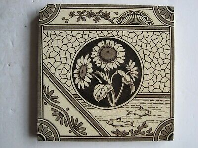 Antique Victorian Transfer Print Tile - Japanesque Design - T A Simpson C1881