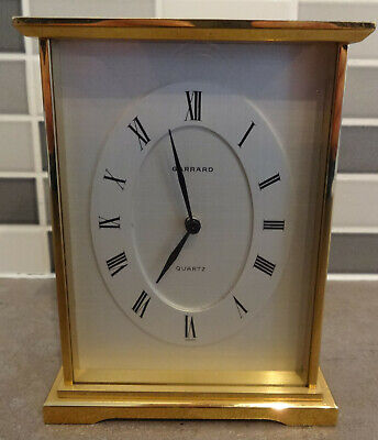 Vintage Heavy Brass Garrard Presentation Mantle Carriage Clock Inscribed