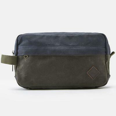 Joules Marshall Wax Canvas Wash Bag Olive