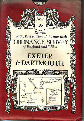 EXETER & DARTMOUTH  ORDANCE SURVEY ONE-INCH MAP REPRINT of the 1st Edition  VGC