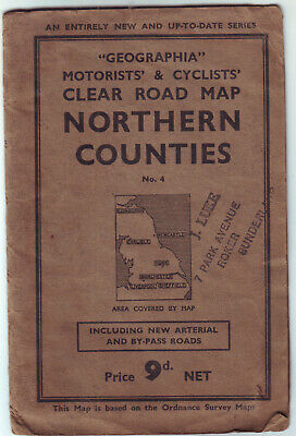 "Northern Counties Clear Road Map ""Ge0Graphia"" Motorists & Cyclists Vgc"