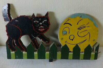 Folky Yard Art Ornament Whirligig Painted Cat & Moon Without Blades