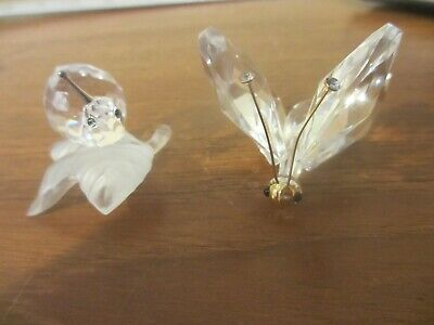 2 Swarovski Crystal --  Snail On Leaf one antenna & Large Butterfly no base
