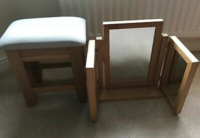 Oak Stool & Mirror. In Great Condition. Collection Only From Maidstone Area