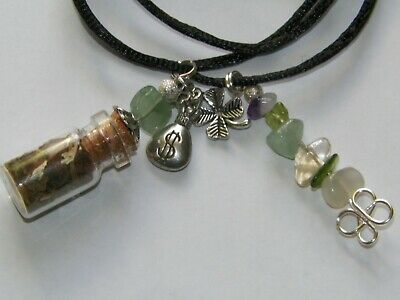 Prosperity Money Drawing Charm Bottle Necklace Pagan Wicca Ritual Lucky Amulet