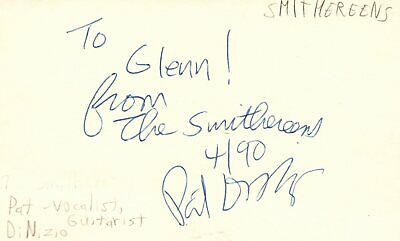 Pat DiNizio Vocalist Guitarist Smithereens Rock Band Signed Index Card JSA COA