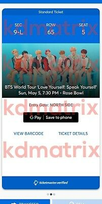 $175 for (2) BTS Concert Tickets, Rose Bowl, Sunday May 5th. Row 65,Sec 9-L