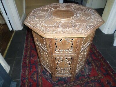 Antique Wooden Carved Ornate Folding Table