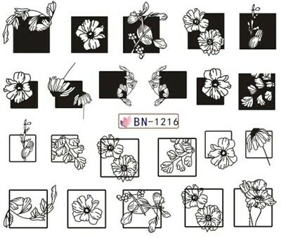 Nail Art Stickers Water Decals Black White Flowers Squares (BN1216)