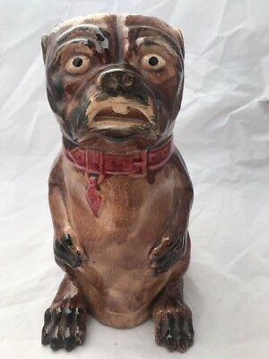 Beautiful Antique Majolica Dog Pitcher. Great Condition. From The 19Th Century.