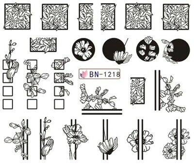 Nail Art Stickers Water Decals Black Flowers Circles Lines (BN1218)