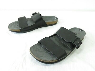 ac50f0d81f5a Merrell Downtown Buckle Slide Sandals Mens 9 Black Leather Comfort Slide  Sporty
