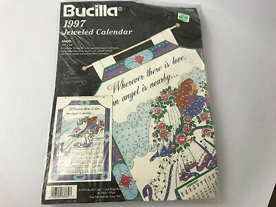 "Bucilla 1997 Jeweled Angel Calendar Kit 83334 16""x24"" Sealed Sequins Embroidery"