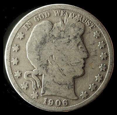 1906-O Barber 90% Silver Half Dollar Ships Free. Buy 5 for $2 off