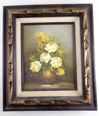 Yellow Roses Still Life Vintage 1960s Framed Oil Painting - Pietrovanni Orlando