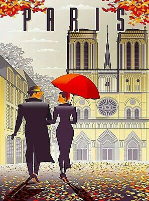 Notre Dame Cathedral Paris France Autumn Retro Travel Art Poster Print