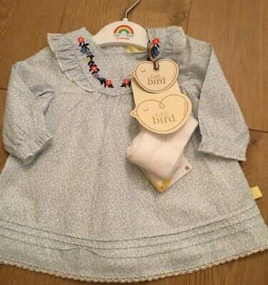Little bird By Jools Oliver girls Dress And Tights Set 1-3 Months & Hanger 🌈🍄