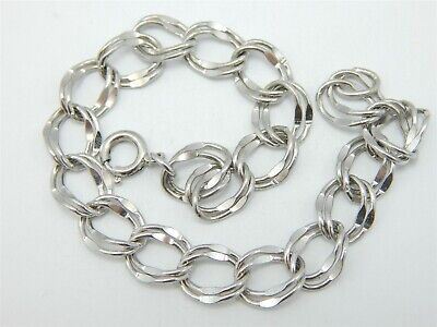 """Sterling Silver Solid 925 Double Curb Link Charm Bracelet 7.25"""" with Gift Box"""