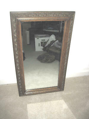 "OLD ANTIQUE 1800s Solid Tiger Oak Carved Deep Wood Framed Mirror 19"" x 33"" GREAT"