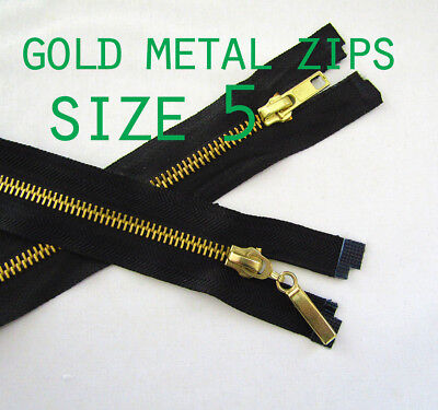 Zip Metal Gold Teeth No5 Open End  Metal Zips Zipper  Lenghts 20''to 32''