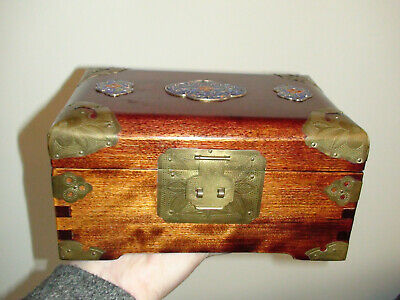 Vintage Wood Chinese Jewellery Box With Brass Blue Enamel Inset and Brass Mount