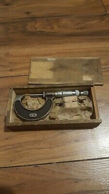 "Rare Vintage Moore And Wright 1/2"" - 1 1/2"" Micrometer In Wooden Case + spanner"