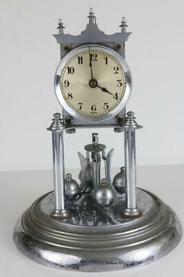ANTIQUE 400 DAY TORSION ANNIVERSARY CLOCK by JUF large chrome finished clock