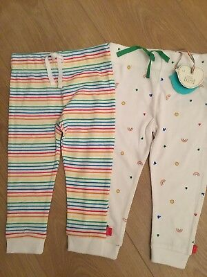 2 Pair Of Little Bird By Jools Oliver Girls / Boys Joggers / Leggings 9-12 Mths