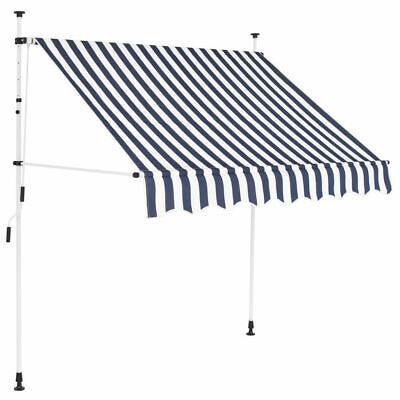 Manual Retractable Awning 150 cm Blue and White Stripes